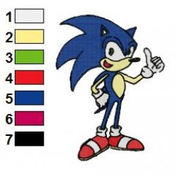 Sonic Okey Sign Embroidery Design